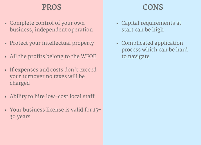 pros and cons of a China WFOE