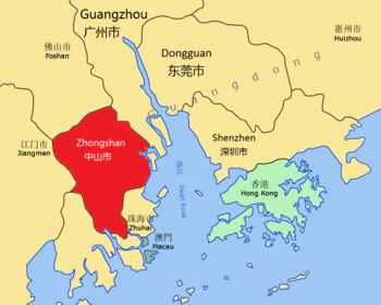 Zhongshan's location in the GPRD