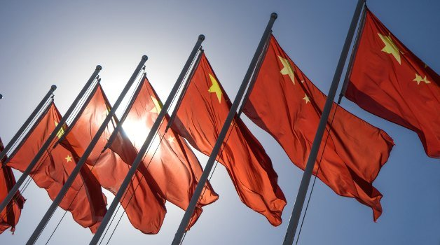 chinese flags lined up