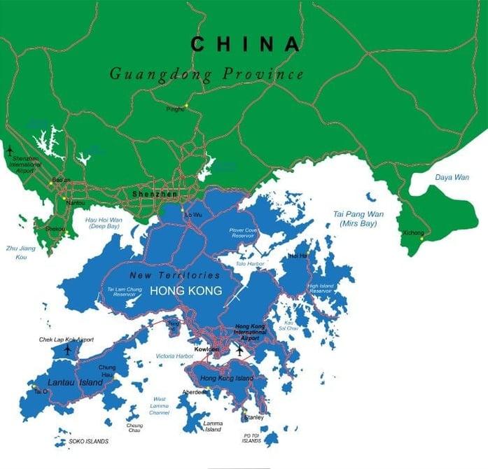 Map of Shenzhen and Hong Kong