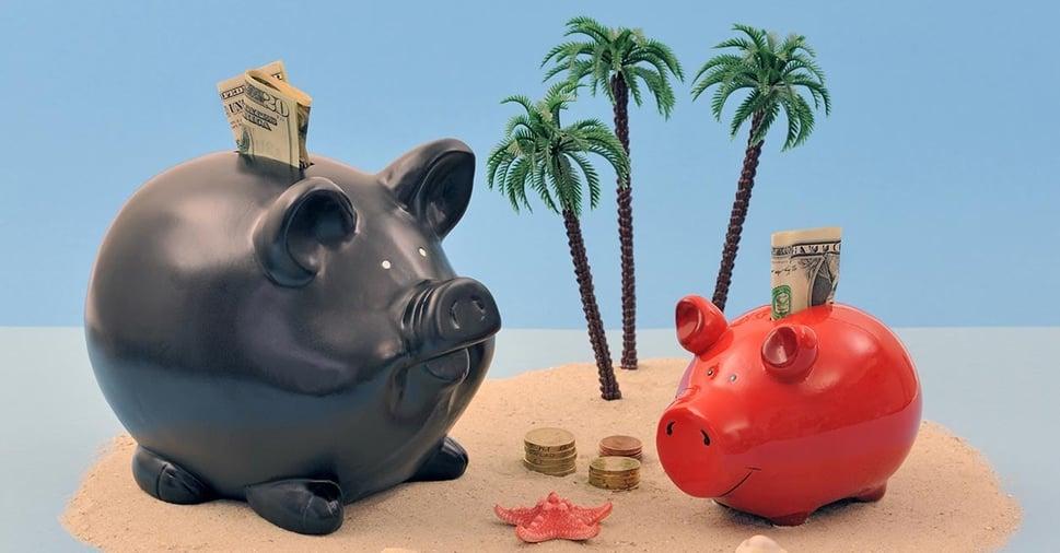 Piggy banks on an island