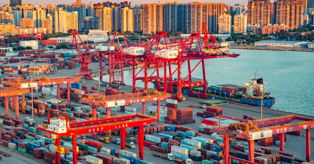 Haikou Hainan Port Container Terminal Aerial View During Sunset